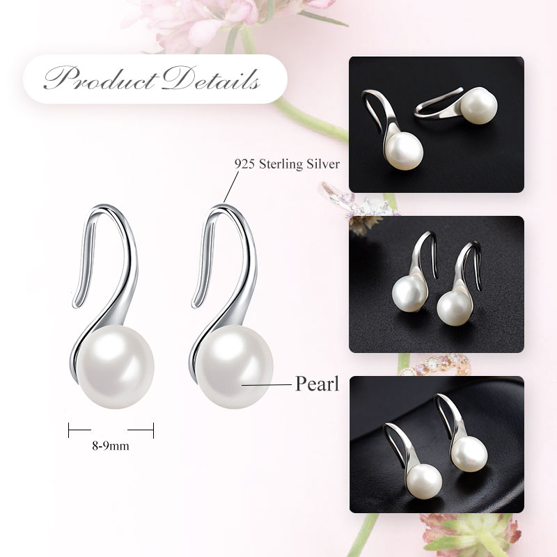 LicLiz 2019 New 925 Sterling Silver Round Natural Freshwater Pearl Drop Earring for Women White Pink Purple Hook Jewery LAE0009B in Earrings from Jewelry Accessories