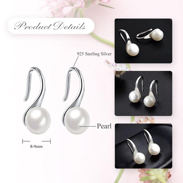 LicLiz Pure 925 Sterling Silver Earrings Drop Women Round Natural Freshwater Pearl Hook Dangle Earring Ear Drops Brincos LAE0009