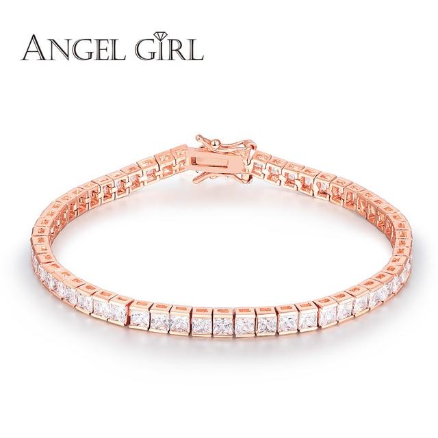 Angel Aaa Elegant Square 4mm Cz Tennis Charm Bracelets Bangles Rose Gold Color Princess