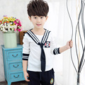New 2017 Spring Kids Clothes Set 3 pieces Tie + Long Sleeve T shirt + Skirt / Pants Boys and Girls School Clothing Set