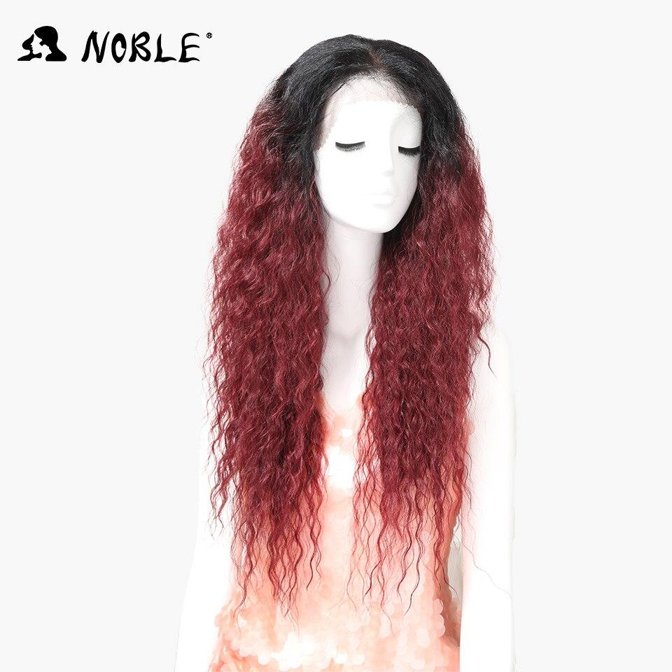 Nobel Snörning Fram Paryk Med Babyhår Kinky Curly Parykar Syntetisk - Syntetiskt hår