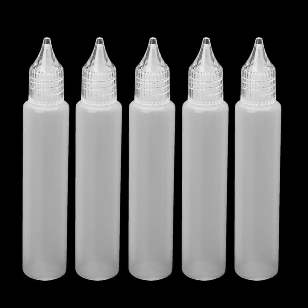 5Pcs E-Juice Bottle Vape Drip Tip Plastic Liquid Storage Squeezable Dropper 30ml