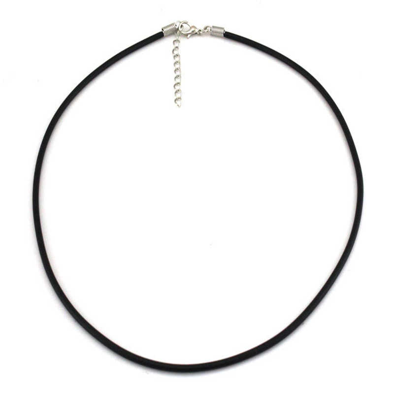 Skręcona pleciona lina 2mm czarny PU skórzany sznur łańcuch naszyjnik srebrna zapinka ciąg liny mężczyźni kobiety wysokiej jakości 8ND336