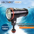 Лампа ARCHON D35VP II 4200lm для дайвинга  освещение для дайвинга 18650  литий-ионная батарея  лампа для дайвинга  видео свет + красный + УФ + точечная ламп...