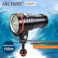 ARCHON D35VP II 4200lm погружение фотография Свет Дайвинг Освещение Лампа 18650 литий ионный тесто погружение огни Видео свет + красный + УФ + пятно лампы