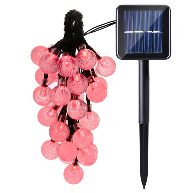 New Solar Outdoor String Lights 19.7ft 30 LED Red Crystal Ball Solar Powered Globe Fairy Lights For Halloween Lights Decoration