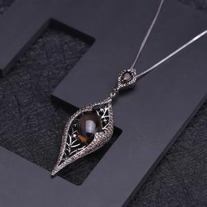 Image 2 - GEMS BALLET 100% 925 Sterling Sliver Natural Smoky Quartz Gemstone Vintage Gothic Punk Pendant Necklace For Women Party Jewelry