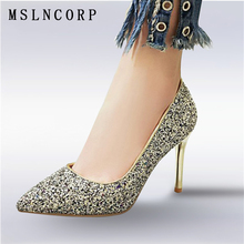 Plus Size 34-48 New fashion Women Fashion Thin High heeled Shallow Mouth Singles Shoes Glitter Bling Party Pumps Ladies Stiletto