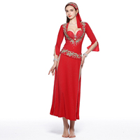 Belly Dance Beledi Saiidi Dress Embroidery Sequin Costume red black 5pieces Set dress+bra+headpiece+belt+shorts