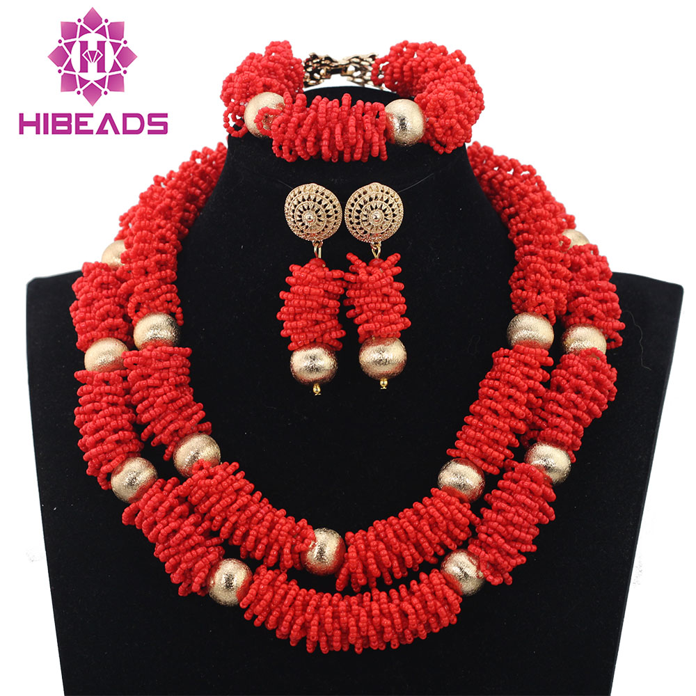 Charming Red African Beaded Jewelry Set Dubai Bridal Women Necklace Earrings Set Free Shipping QW968 цены