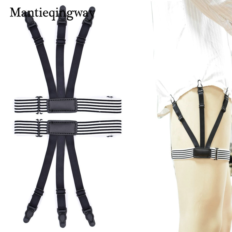 Men Shirt Suspenders Garter Holder Business Unisex Shirts Stays Garter Holder Suspensorio Striped Elastic Belt