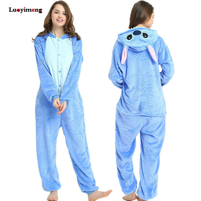 Winter Adults Kigurumi Unicorn Pajamas Sleepwear Warm Winter Pyjamas Women Stitch Onesies Anime Costumes Jumpsuit Panda Pijamas
