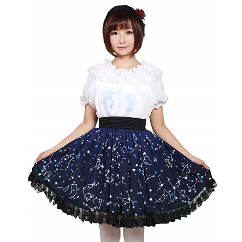 Adomoe new Custom made Plus Size Dark Blue Stars Constellation Printed Lolita Lace Sweet Skirt Women Pleated Soft Sister SK