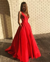 Red Long Prom Dress Sexy Deep V Neck Open Back Simple Satin Formal Evening Dresses For Women Plus Size Cheap Gala Party Gowns