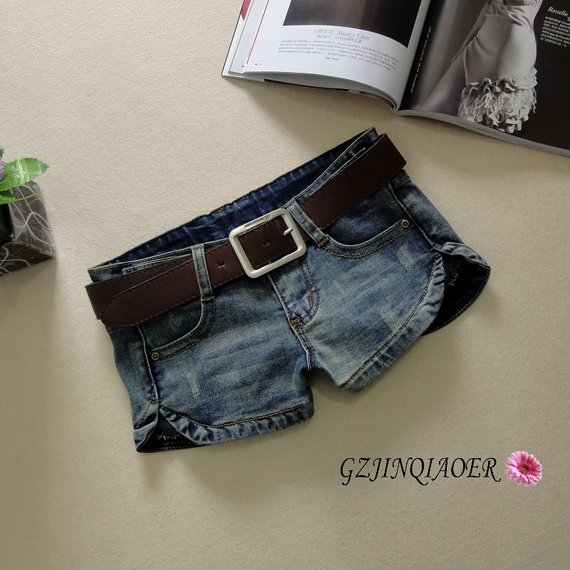2019 Summer Women's Denim Shorts Elastic Skinny Jeans Low Waist Bleached Washed Pockets 100% Cotton Blue Shorts Mini Jeans 930