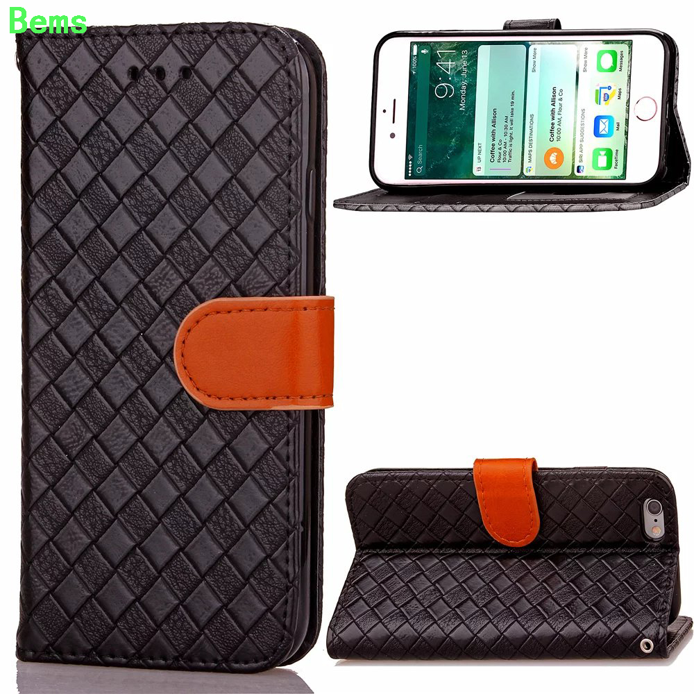 Para iphone 7 case patrón de tejido de moda del color del golpe de cuero para ip