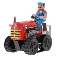 Retro Vintage Farm Tractor Model Wind Up Clockwork Tin Toy Collectible Gift