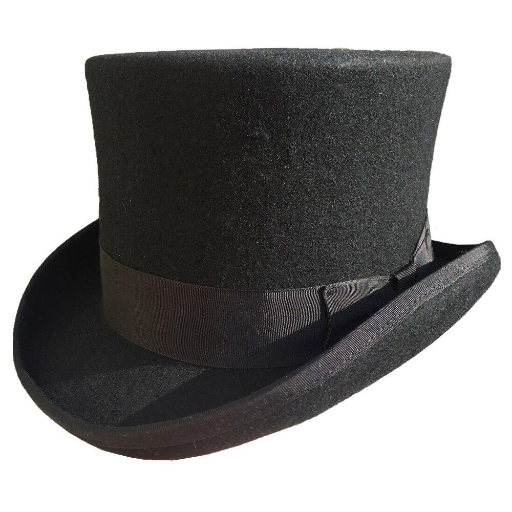 13 5cm 5 1 4 Black Wool Felt Low Short Top Hat Steampunk Cylinder Hat Sherlock