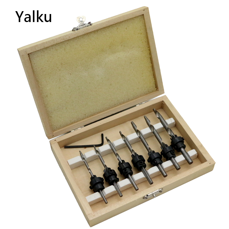 Yalku Countersink Drill Bit Set Wood Screws Adjustable Counter Sleeve Depth With Wrench Drill Bits Power Tool Set Mini Spanner yalku countersink drill woodworking screw drill bit set power tool set wood drilling 5 8pcs cone drill bits metal tool kit