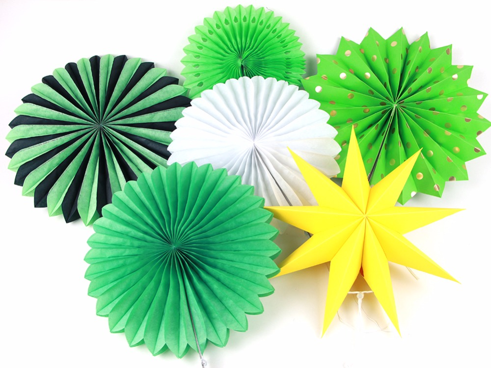 6pcs/Lot Green Theme Party Honeycomb Tissue Paper Fans Wedding Birthday Party Decorations Kids Event Party Supplies Baby Shower