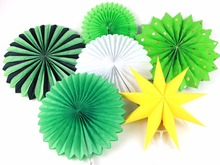 6pcs/Lot Green Theme Party Honeycomb Tissue Paper Fans Wedding Birthday Decorations Kids Event Supplies Baby Shower