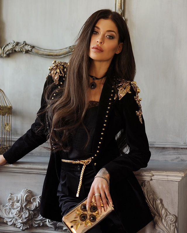 Top Quality Black Fashion Women Beading Coat Celebrity Slim Jacket