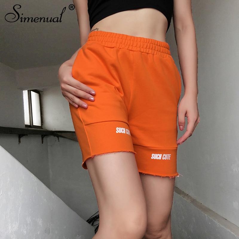Simenual Casual Letter Print Women Biker Shorts High Waist Fashion 2019 Autumn Shorts Sporty Active Wear Workout Cycling Shorts in Shorts from Women 39 s Clothing