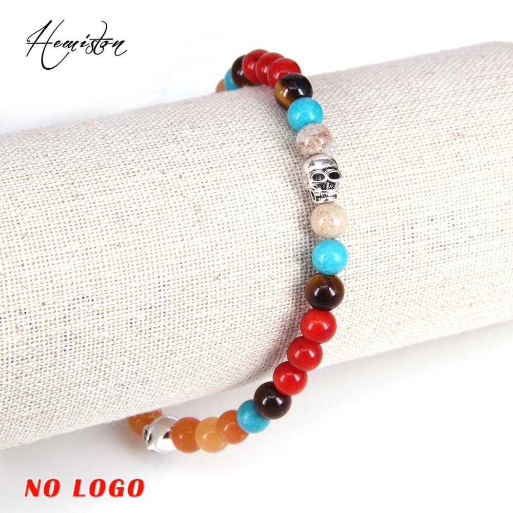 Thomas kleurrijke materiaalmix met kleine schedel kralen armband, - Mode-sieraden - Foto 4