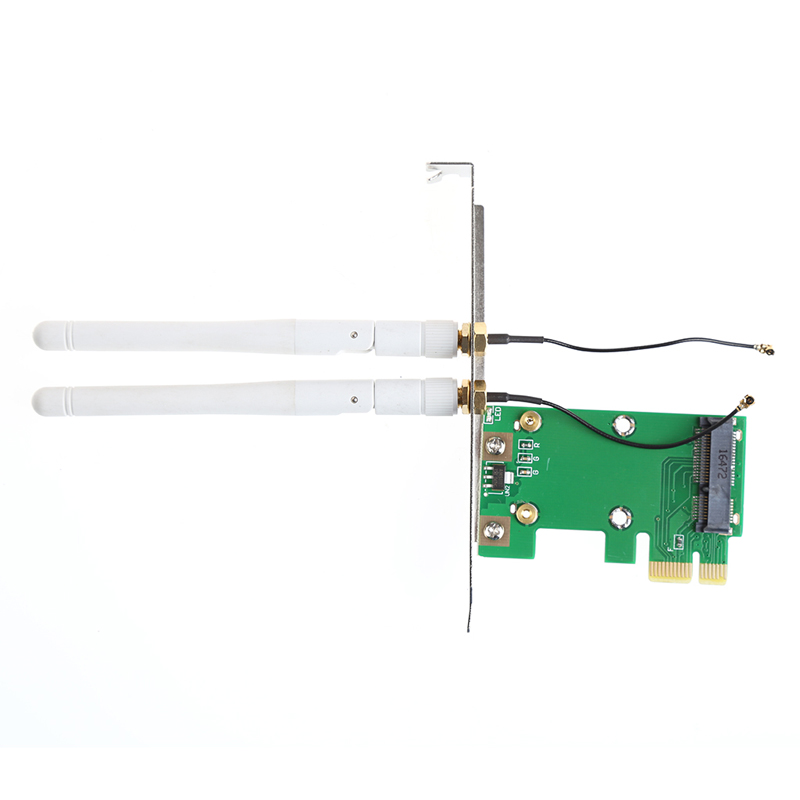 Wireless Wifi Mini PCI-E To PCI-E 1X Desktop Adapter + 2 Antennas for Network Card #K400Y# desktop pc wifi pci e adapter 867mbps bcm94352z 4pcs 6db antennas wireless computer network card 802 11a b g n ac heat sink