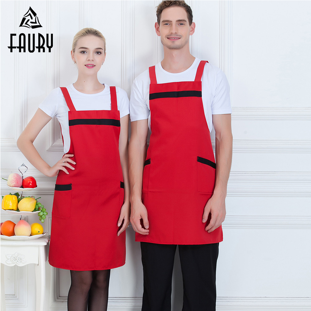 Spliced Color Chef Apron With Pocket Thick Thin Work Wear Aprons For Women Men Food Service Kitchen Coffee Bakery Waiter Uniform