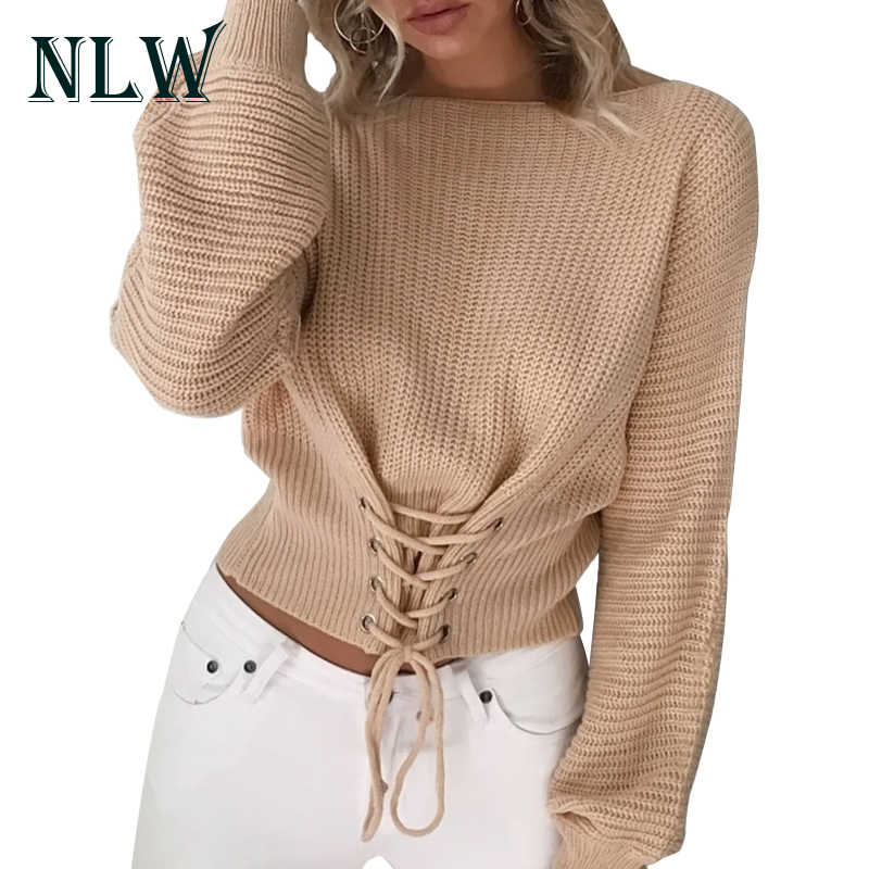 NLW Spitze Up Crop Casual Frauen Pullover 2019 Herbst Winter Strick Pullover Langarm-O Neck Lose Jumper Top Verband pullover