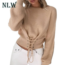 NLW Lace Up Crop Casual Vrouwen Trui 2019 Herfst Winter Gebreide Truien Lange Mouw O Hals Losse Jumper Top Bandage trui(China)