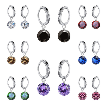 Big Discount Genuine 925 Sterling Silver 8 Colors Shiny Cubic Zirconia Dangle Earrings Crystal Jewelry For WOmen Ladies 5