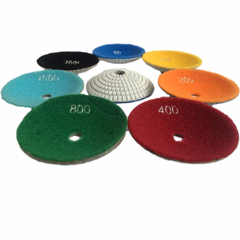 Convex Wet  Diamond Polishing Pads 7 Step Bowl Shaped 4 Inch 100mm Concave Sink Or Ogee Edge On Granite Marble Stone