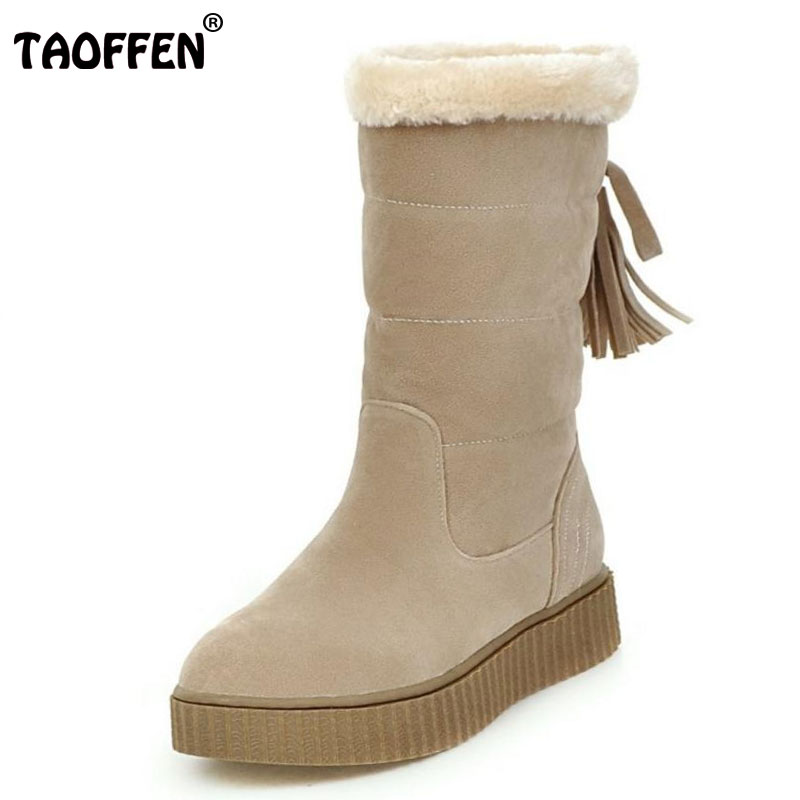 TAOFFEN Women Half Knee Snow Boots Woman's Round Toe Russia Winter Warm Fur Boots Ladies Shoes Outdoor Botas Footwear Size 33-43