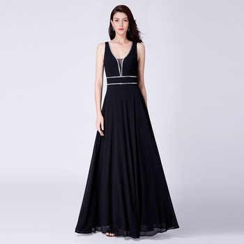 Crystal Evening Dresses Ever Pretty EP07442 Burgundy Chiffon Black Formal Dress Women Elegant V-neck Sleeveless Long Party Gowns