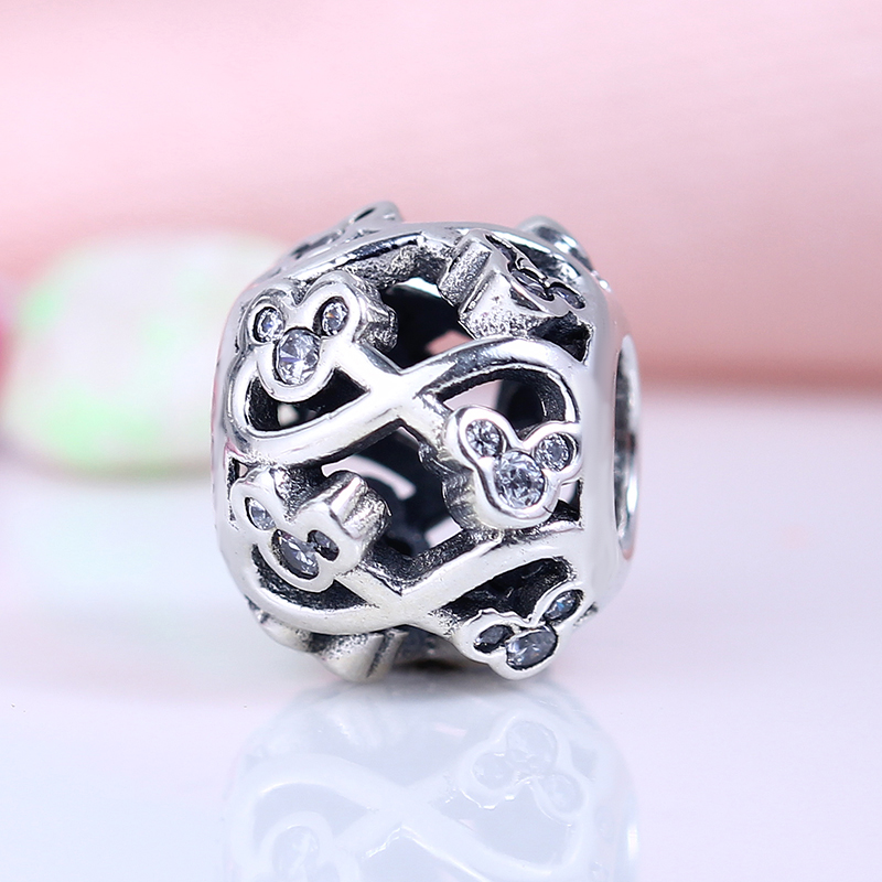New 100% 925 Sterling Silver Fit Original Pandora Bracelet Mickey Mouse Pave Clear CZ Round Charm Beads for Jewelry Making