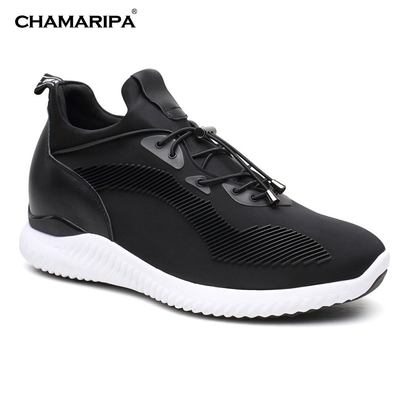 CHAMARIPA Tall Men Black Elevator Shoes Height Increasing Sneaker Lift Shoes  Increase Height 7cm/2.76 inch H71C62V011D chamaripa increase height 7cm 2 76 inch elevator shoes increase height shoes men business formal black shoes