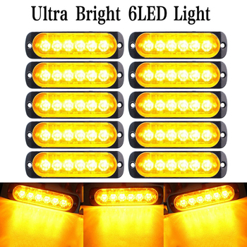 10Pcs 18W Amber 6 LED Car Truck Strobe Flash Warning Lights Lamp 12V Super Bright Emergency Strobe Lights for Trucks amber led