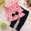 Monkids Heart-shaped Bow T-shirt+Pants Suit Baby Tracksuit For Girls Clothing Sets Toddler Girl Clothing Children Clothing