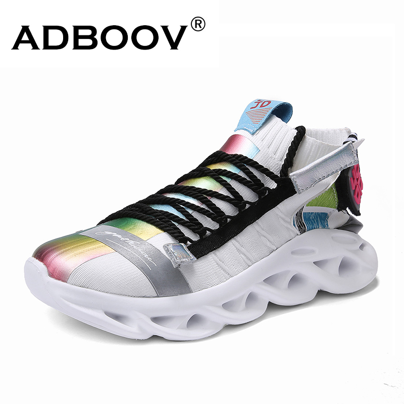 ADBOOV New Fashion Sports Men Running Shoes Knit Upper White Chunky Men Sneakers Flat Lace-Up Shock Absorprion Shoes+Male(China)