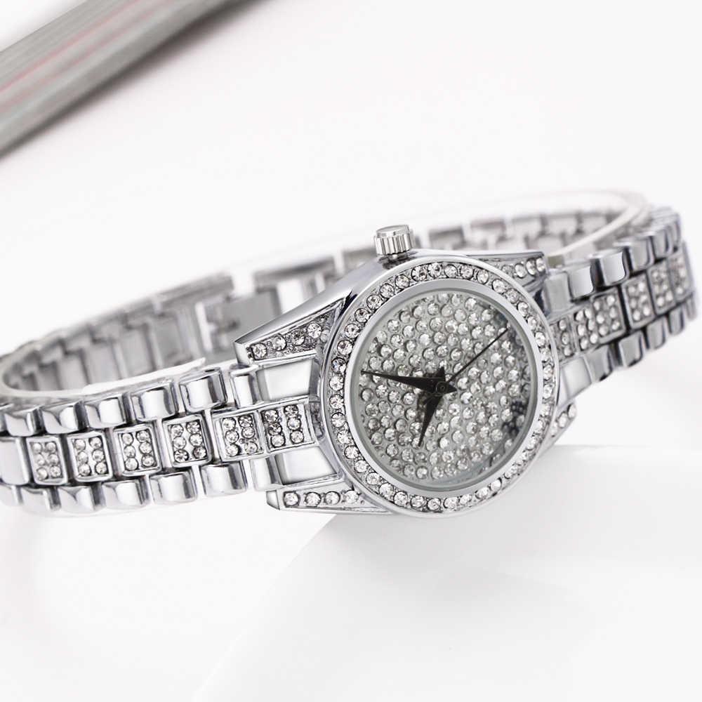 Женские кварцевые часы Dreamcarnival, с Полноразмерным циферблатом и кристаллами, три руки, хит продаж, Золотое золото Rhodium A8316