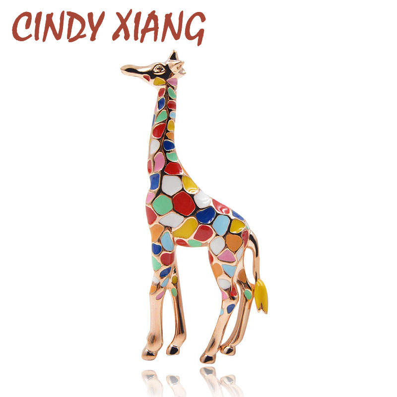 CINDY XIANG Enamel Giraffe Brooches for Women Cute Animal Brooch Pin Fashion Jewelry Gold Color Gift For Kids Exquisite Broches