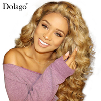 Blonde Lace Front Wig Colorful 250% Density Loose Wave Human Hair Wigs For Women 27# Brazilian Hair Remy Honey Black Dolago
