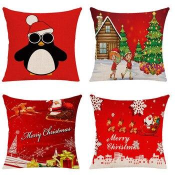 Cojines Tienda Casa.Ishowtienda 4 Piezas Feliz Navidad Cojin Cuadrado Almohada Casa Decoracion Impreso Sofa Cojines Decorativos Rojo