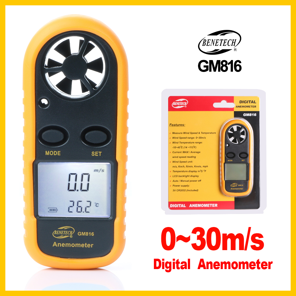 Portable Digital Anemometer Meter Temperature TesterWind Speed Gauge Meter 30m/s LCD Hand-held Tool GM816-BENETECH