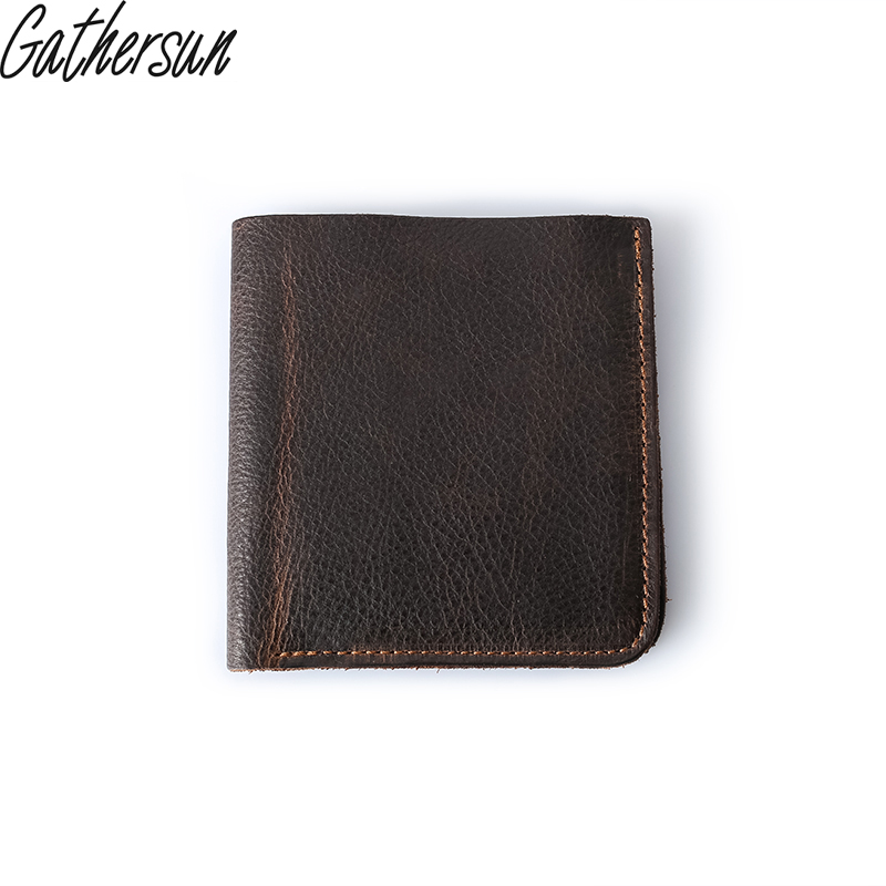 2017 Sale Real Men Photo Holder No Solid Gathersun Mens Leather Wallet Short Purse Handmade Genuine Cow Vintage Style gathersun brand handmade 2017 original design genuine leather men wallet vintage style large capacity long purse clutch wallet