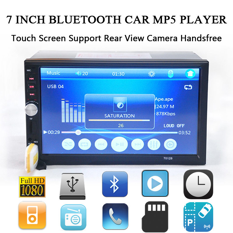 7 Inch Bluetooth Car MP5 Player 12V HD Touch Screen Support Rear View Camera Handsfree TFT Car Audio Video FM USB SD AUX IN 2015 new support rear camera car stereo mp3 mp4 player 12v car audio video mp5 bluetooth hands free usb tft mmc remote control