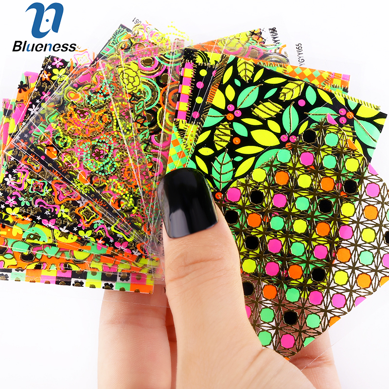 24pcs/lot Nail Stickers 3d Beauty Sticker for Nails Colorful Leaf Design Nail Art Charms Manicure Decals Decorations JH147 12 models set gold 3d design christmas nail sticker bling bows nail art manicure stickers decals for women nails decoration