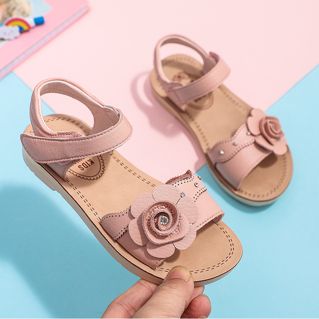 Girls Sandals Summer Flowers Children's Soft Bottom Leather Princess Shoes Big Kid's open toe beach sandalies tide 2 years to12